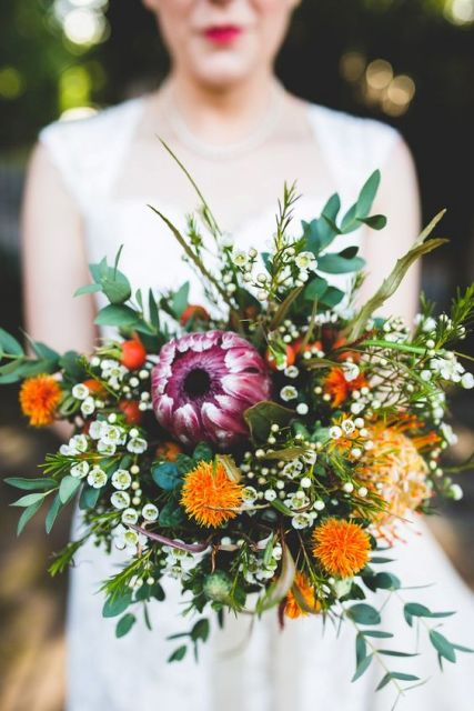 Fall bright wedding bouquet