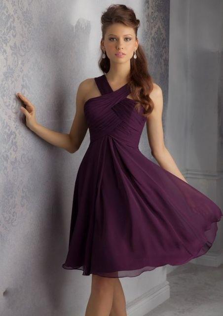 Girlish marsala knee-length chiffon dress