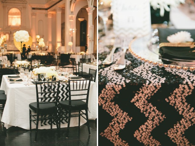 Glamorous Black, White And Gold Wedding