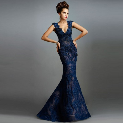Gorgeous lace trumpet dress in dark tone