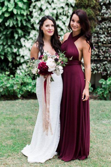Gorgeous marsala maxi dress idea