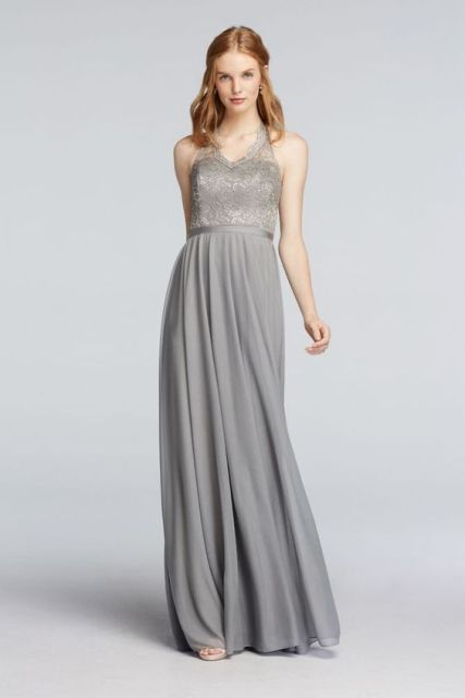Gray maxi dress with lace top