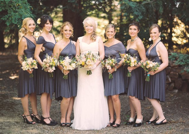 Gray midi pleated dresses