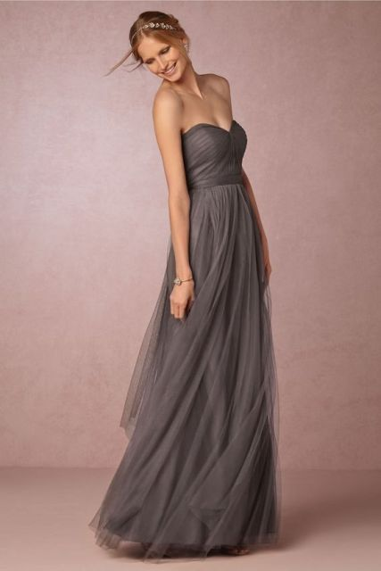 Gray strapless chiffon bridesmaid dress