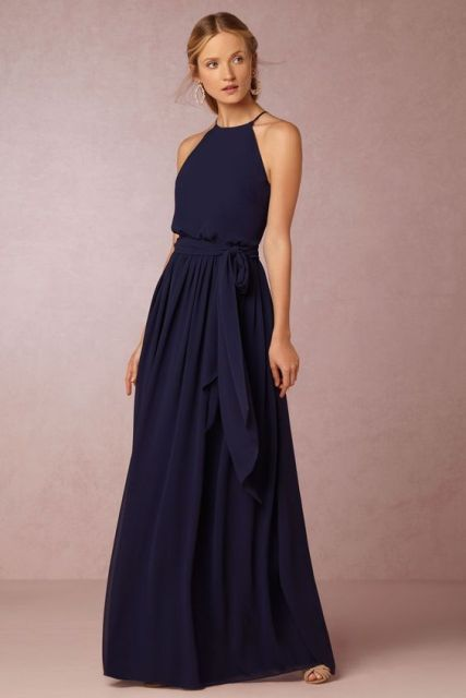 Navy Blue Halter Dress