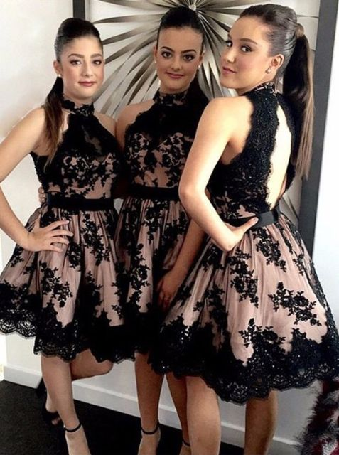 Knee-length dresses with black lace
