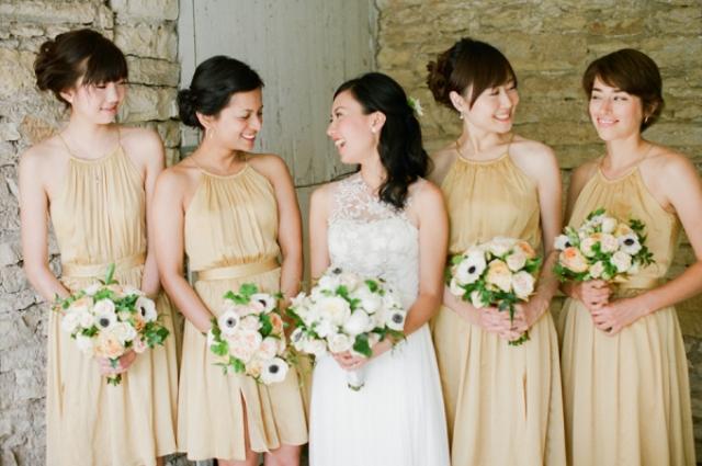 Light gold mini dresses for bridesmaids