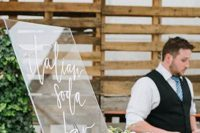 Lucite sign for wedding