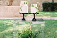 Lucite stand for wedding cake