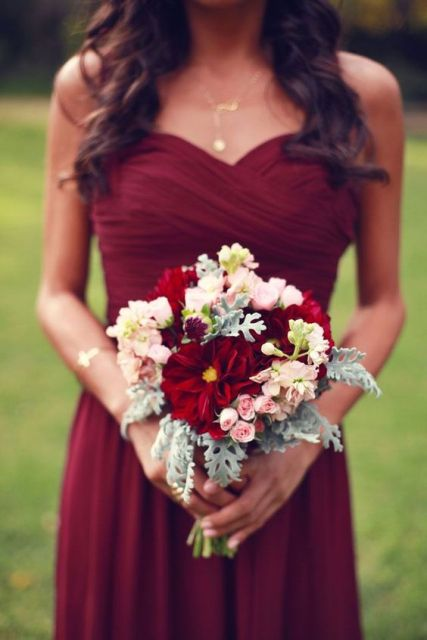 Wine-colored bridesmaid dress