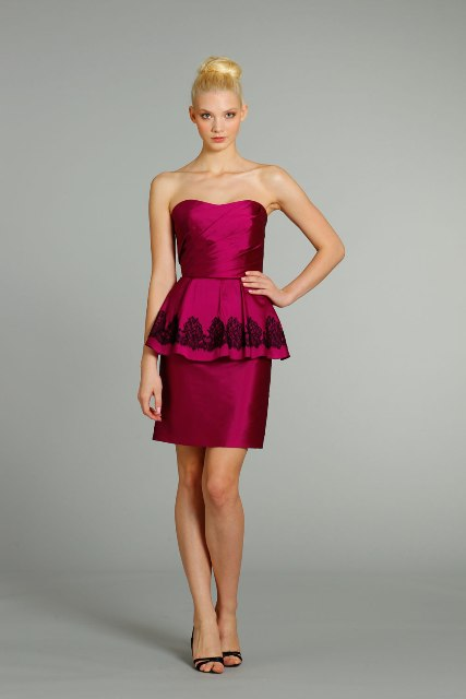 Marsala knee-length dress with black lace