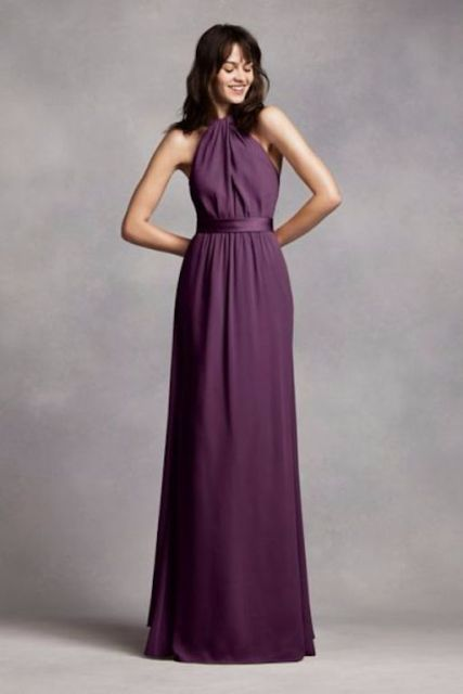 Maxi bridesmaid dress with belt