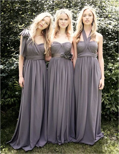 Maxi bridesmaid dresses for fall weddings