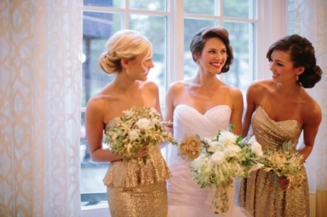 Metallic sequin peplum bridesmaid dresses