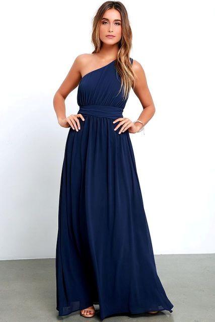 Midnight blue classic maxi dress