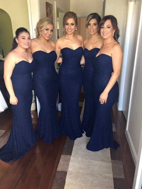 Midnight blue strapless dresses