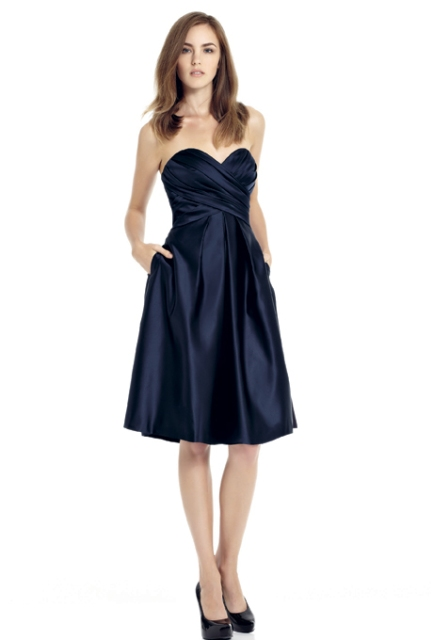Navy blue strapless knee-length silk dress