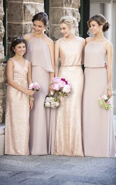 Neutral shade maxi halter dresses for boho chic weddings