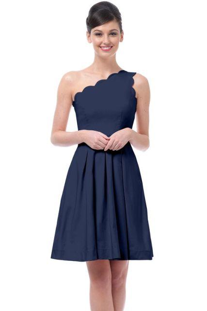 Midnight Blue Wedding Dresses 55 Amazing One shoulder scallop knee