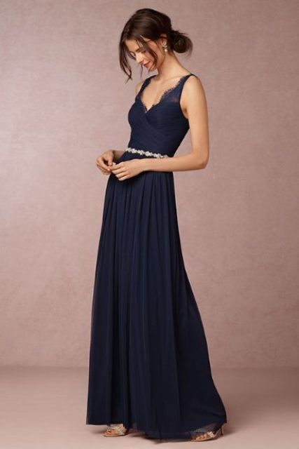 Pleated maxi dress with glitter belt