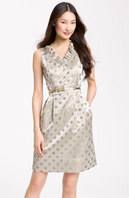 Polka dot dress with ruffles