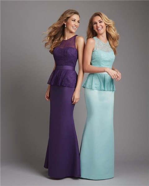 Purple and light blue mermaid maxi dresses