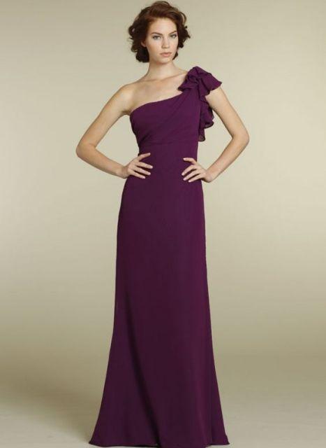 Purple maxi ruffle bridesmaid dress