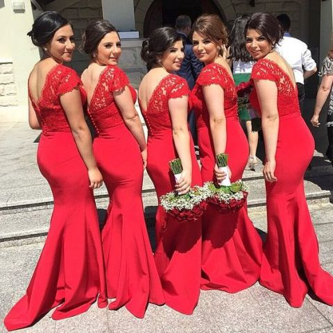 Red lace trumpet dresses