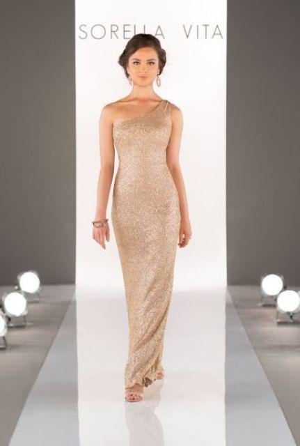 Shining gold maxi dress for glamorous weddings