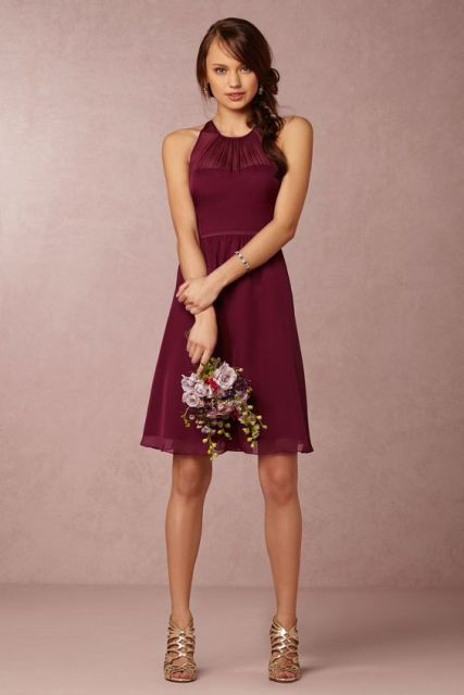Simple wine-colored dress