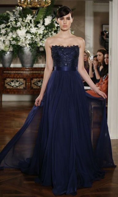 Midnight Blue Wedding Dresses 22 Vintage Strapless dress with glitter