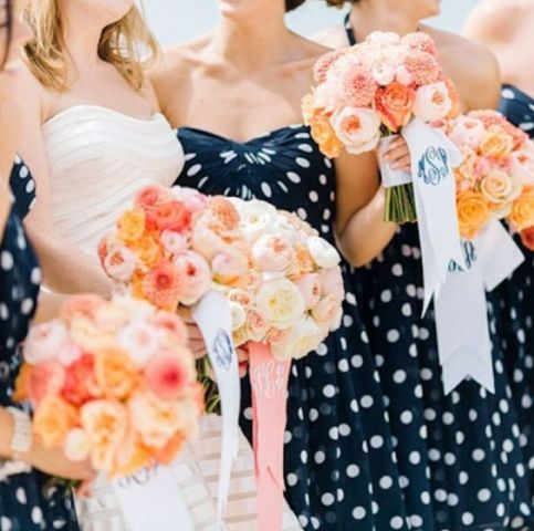 Strapless polka dot bridesmaid dress idea