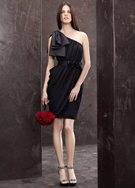 Stunning black mini bridesmaid dress