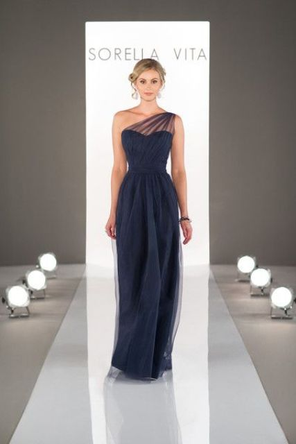 Stylish chiffon maxi one shoulder dress