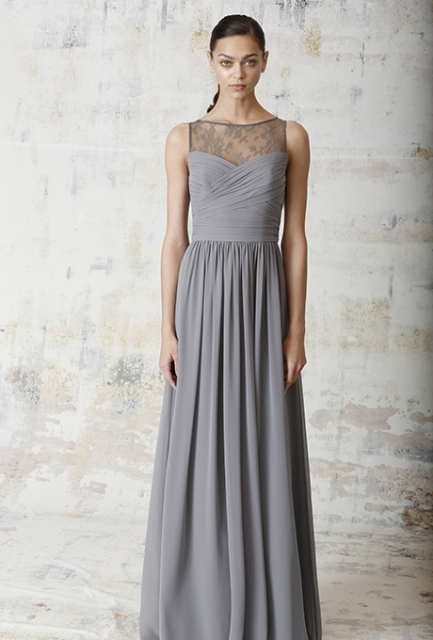 Stylish maxi pastel gray dress