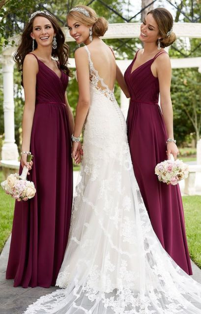 Traditional Marsala Maxi Bridesmaid Dresses