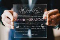 Unique lucite wedding invitation