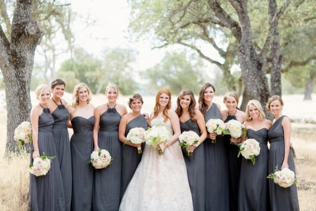 Various styled gray bridesmaid dresses