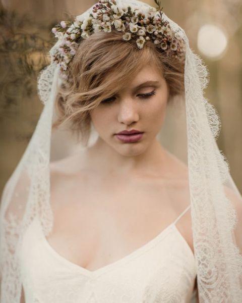 Waxflower bridal crown