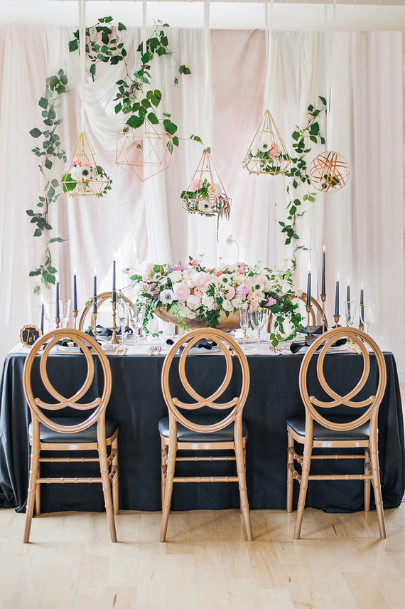 Blush and black are a refined and chic combo for any wedding