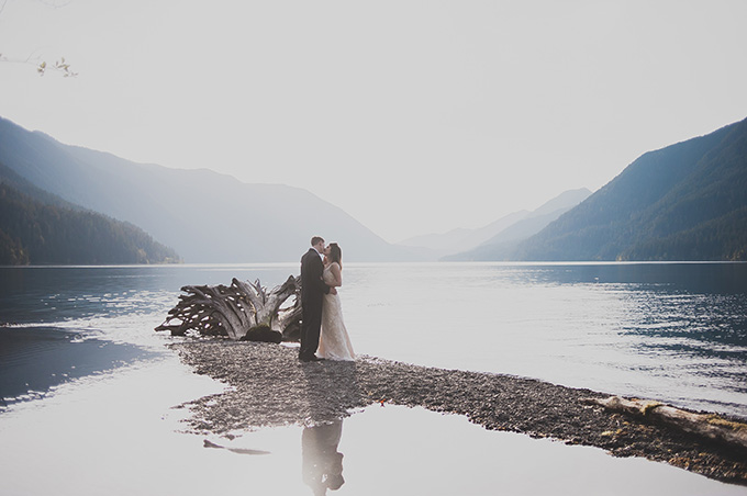 This inspirational wedding shoot took place in a venue on a mountain lake