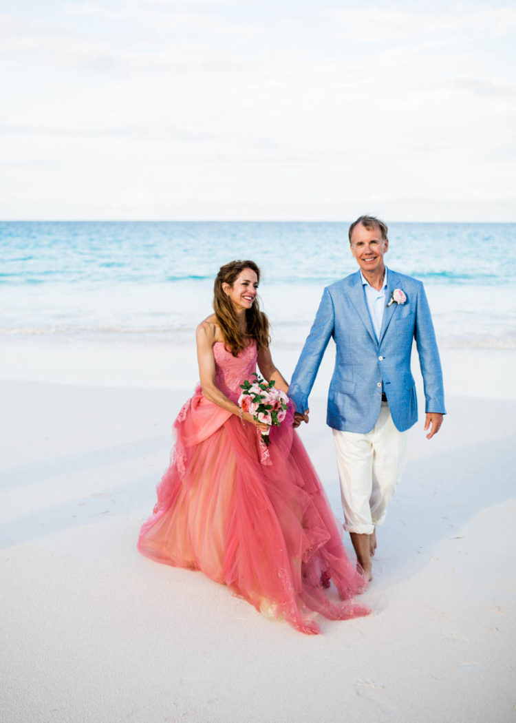 Beach Wedding With A Pink Vera Wang Wedding Gown