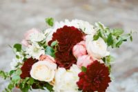 02 burgundy dahlias and blush peonies for a bridal bouquet