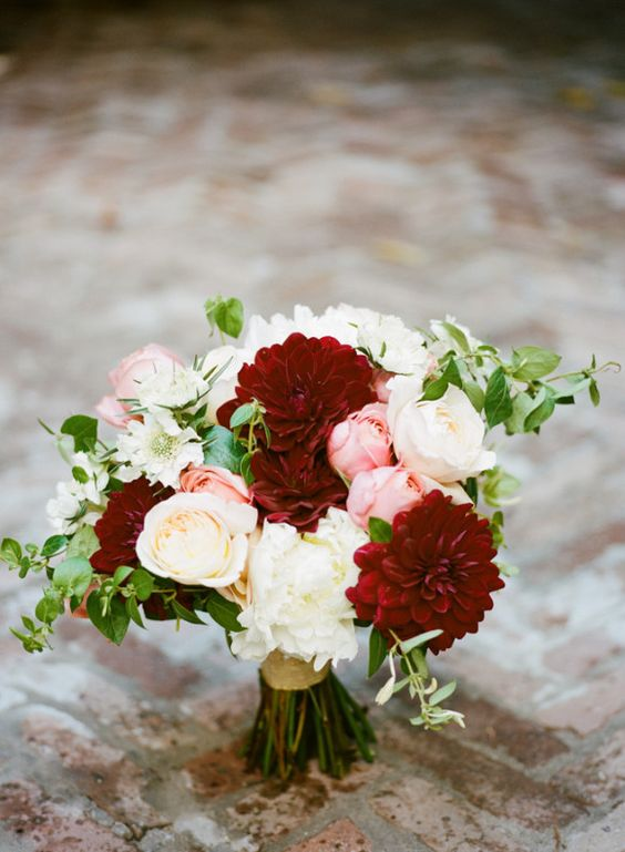 Picture Of Burgundy Dahlias And Blush Peonies For A Bridal