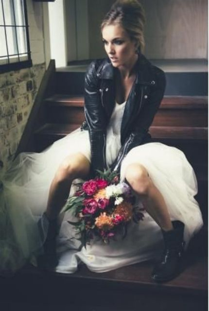 Picture Of Tulle Wedding Dress With A Leather Jacket Anf Boots