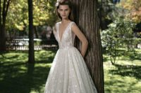 03 A-line wedding ball gown with a deep v plunging neckline