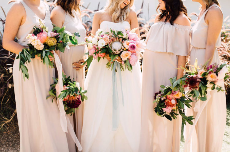 The bouquets are bold and boho-styled