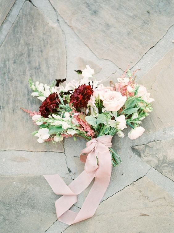 burgundy and white bouquet with blush ribbon