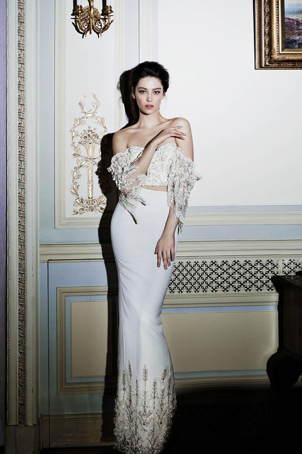 Trendy off the shoulder bridal separate with a floral lace top and a sheath skirt with lace on the bottom