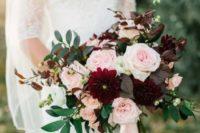 04 lush burgundy dahlias and blush roses for a fall bouquet